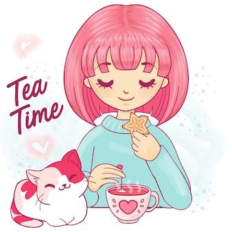 Chica linda de la historieta con gatito y taza de té