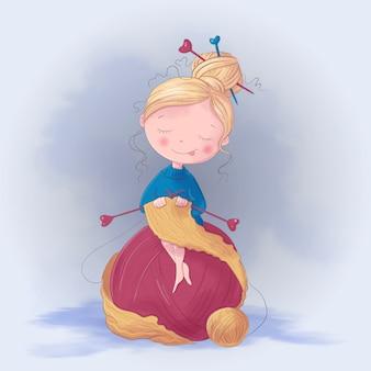 Chica linda de la historieta teje una ilustración de bufanda