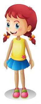 Chica linda joven de dibujos animados