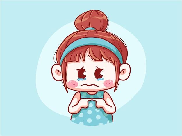 Chica linda y kawaii llorando y sintiéndose culpable chibi