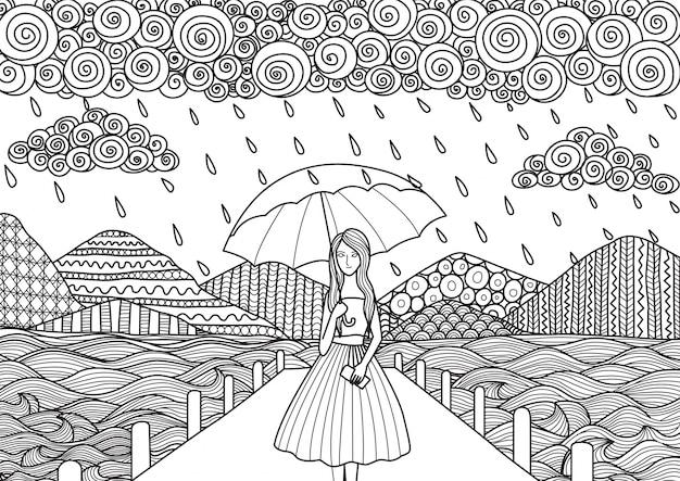 Chica bajo la lluvia dibujada a mano