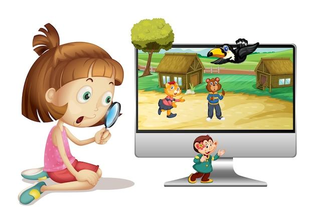 Chica con lupa junto a la computadora