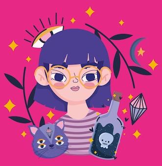 Chica mágica con dibujos animados de botella de gato y poción