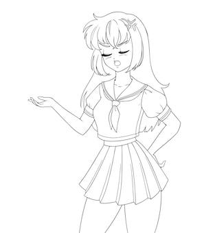 Chica de manga anime enojado con uniforme escolar aislado en blanco. espacio vacío para texto de banner