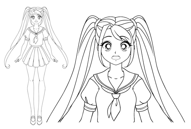 Chica manga asustada con y dos coletas con uniforme escolar japonés.
