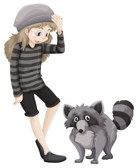 Chica y mapache gris