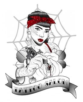 Chica con maquina de tatuaje hace tatuaje