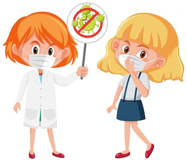 Chica con máscara y médico con cartel de parada coronavirus