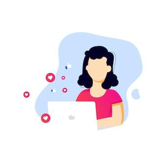 Chica de medios sociales de estilo plano escribiendo en computadora portátil