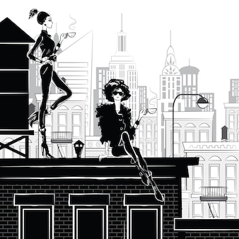 Chica de moda en boceto de estilo en nueva york