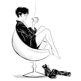 La chica de moda en boceto se relaja con una taza de café.