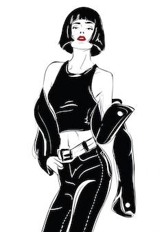 Chica de moda en el estilo de dibujo sobre un fondo blanco.