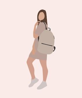 Chica de moda con una mochila en la ilustración posterior