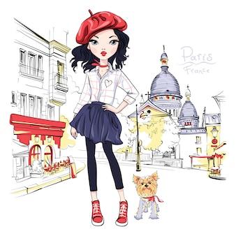 Chica de moda de vector en parís