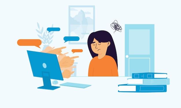 Chica molesta sentada en el escritorio luchando por el acoso cibernético.
