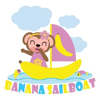 Chica de mono en banano vector velero de dibujos animados de fondo