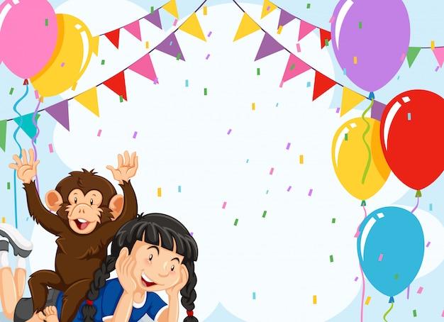 Chica y mono en el fondo de la fiesta