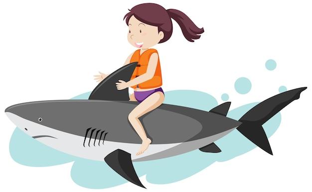 Chica montando en estilo de dibujos animados de tiburón aislado sobre fondo blanco.