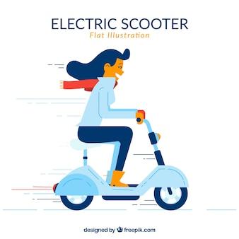 Chica montando moto eléctrico