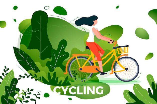 Chica de montar en bicicleta. parque, bosque, árboles y colinas en el fondo. banner, sitio, plantilla de cartel