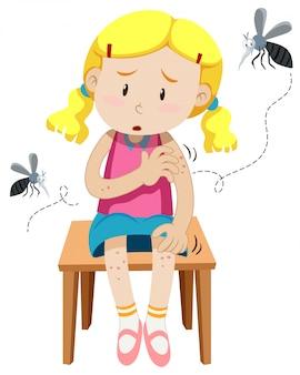 Chica mordida por mosquitos