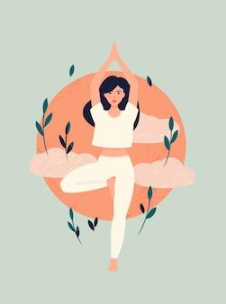 Chica morena haciendo yoga en pose de árbol con sol y nubes
