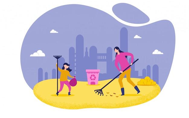 Chica y mujer personajes limpieza hojas en el parque.
