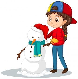 Chica con muñeco de nieve vector gratuito