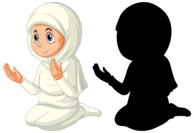 Chica musulmana árabe en vestimentas tradicionales en color y silueta aislado sobre fondo blanco.