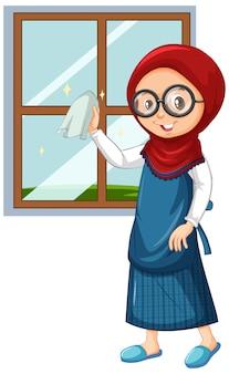 Chica musulmana limpiando ventanas en blanco