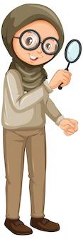 Chica musulmana con lupa en blanco