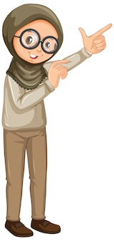 Chica musulmana en safari uniforme sobre fondo blanco.