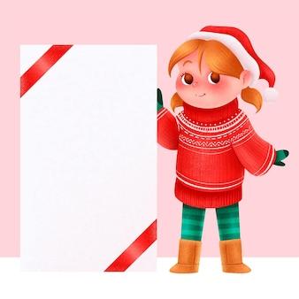 Chica de navidad con banner en blanco