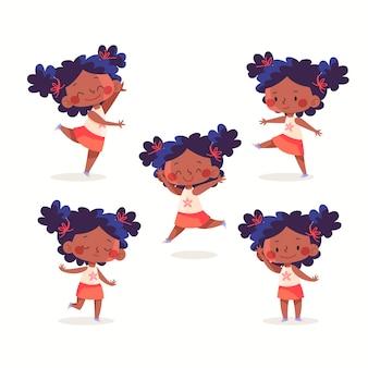Chica negra dibujada a mano plana en diferentes poses