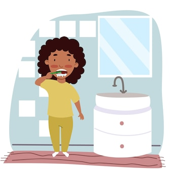 Una chica negra en pijama se cepilla los dientes en el baño. los niños son higiene. un niño con un cepillo de dientes. ilustración de vector de estilo plano.