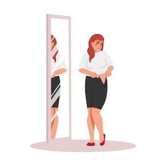 Chica no encaja en la ilustración de vestido semi plano