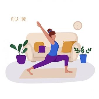 Chica o mujer y su pasatiempo o actividad diaria - yoga, entrenamiento