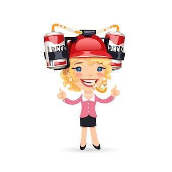 Chica de oficina con casco de cerveza roja en la cabeza
