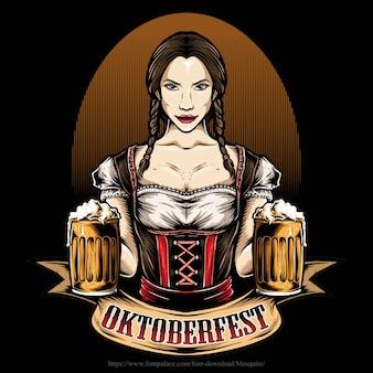 Chica oktoberfest sosteniendo cerveza