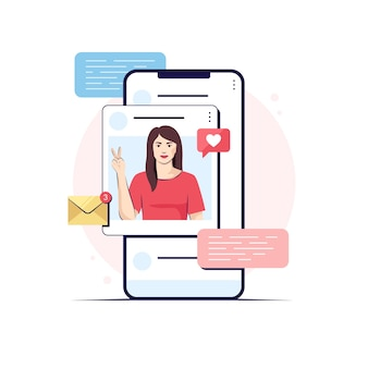 Chica en una pantalla de aplicación, ilustración de diseño plano de redes sociales