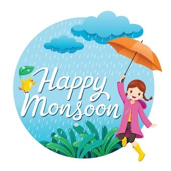 Chica con paraguas y gabardina saltando bajo la lluvia juguetonamente en el marco del círculo, feliz monzón
