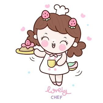 Chica con pastel y gorro de cocinero, kawaii de dibujos animados dibujados a mano