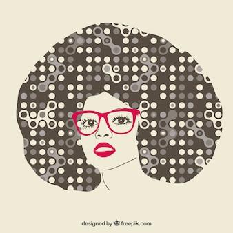 Chica con el pelo afro abstracto