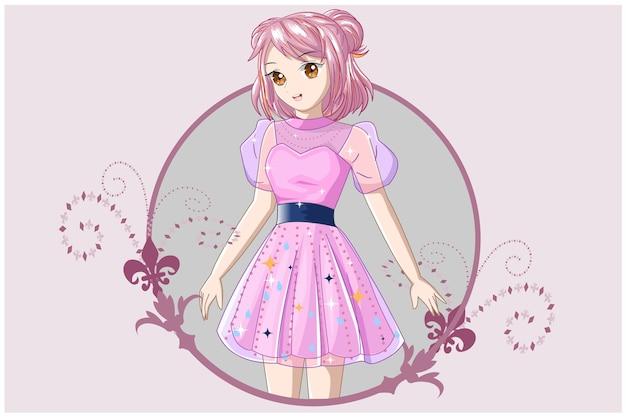 Una chica con el pelo corto de color rosa con un vestido rosa.