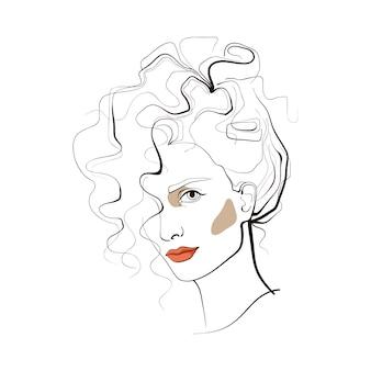 Chica con el pelo rizado. cara abstracta. ilustración de moda