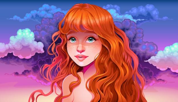 Chica con el pelo rojo y pecas en la puesta del sol