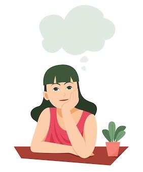 Chica está pensando en algo con el símbolo de la burbuja de pensamiento.