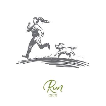 Chica, perro, correr, deporte, concepto de jogging. dibujado a mano mujer corriendo con perro en el bosquejo del concepto de mañana.