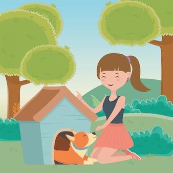 Chica con perro de dibujos animados.