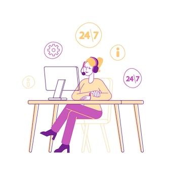 Chica en personaje de consultor de línea directa de auriculares charlando con el cliente